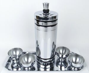 Vintage Art Deco Chase Chrome Cocktail Shaker W Four 4 Cups