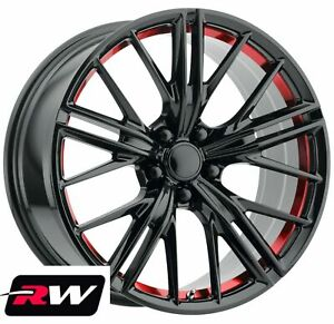 20x10 20x11 Wheels For Chevy Camaro Zl1 2012 2019 Gloss Black Red Rims 23 43