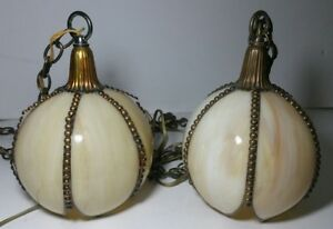 Vintage Pair Stained Slag Glass 6 Panel Hanging Tulip Lily Petals Pendant Lamps