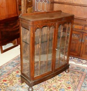 English Antique Oak Jacobean Glass Door Bookcase Display Cabinet