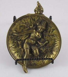 Erotic Elf Spying On A Lady Brass Bronze Dish Or Tray Jz 0674
