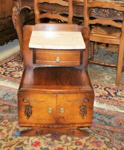 French Antique Art Deco Oak Marble Top Nightstand Small Side Cabinet Lamp Table