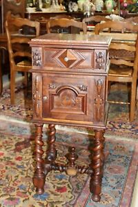 French Dark Walnut Louis Xiii Antique Nightstand Side Table Lamps