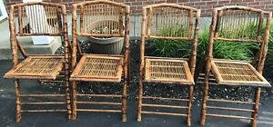 4 Vintage Tortoise Shell Rattan Bamboo Folding Chairs Tlocal Pickup Columbus Oh