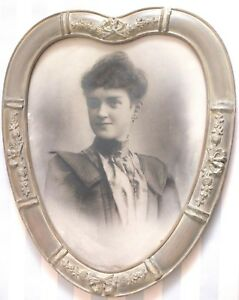 Rare Victorian Heart Shaped Frame Large Barbola Photo Pretty Woman Valentine Day