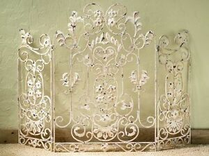 French Country Old World Antique White Iron Floral Fireplace Screen 46 X 34 H
