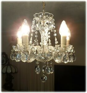 Vintage Crystal Petite Swag Chandelier With Prisms