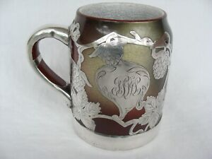 Antique Sterling Silver Overlay Lenox Ceramic Art Monk Tankard Mug As Found