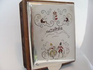 Antique Austrian Sterling Silver Enamel Carved Wood Pine Cone Table Box 4 X5
