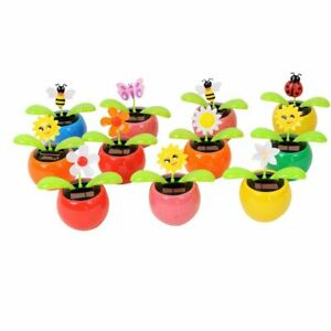8 Cute Solar Power Dancing Flowers Insect For Car Decoration Swing Dancing Toy