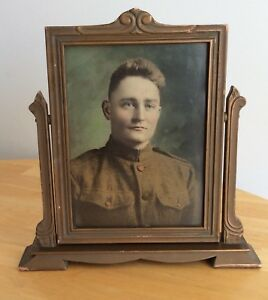 Vintage Swing Tilt Trapeze Footed Wood Picture Frame Tabletop Wwi Military Photo
