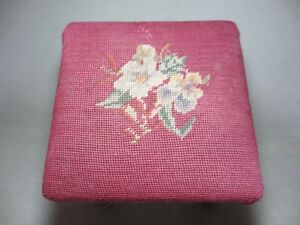 Antique Needlepoint Foot Stool Floral On Burgundy 9 25 Square X 7 5 Tall