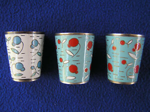 Three Russian Enamel Over Silver Metal Cups Shot Glasses 3