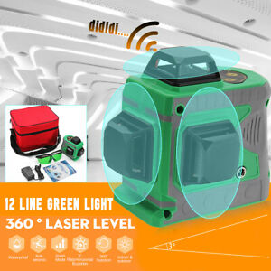 12 Line 3d Green Light Laser Level Auto Self Leveling 360 Rotary Measure Cross