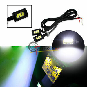 2x White 3 Smd Bolt On Led License Plate Lights For Car Or Motorcycle Atv Bike
