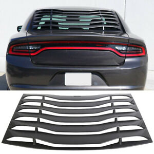 Rear Window Louver Cover Vent Ikon Style Fits 2011 2018 Charger Unpainted Black