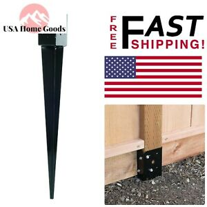 Black Powder coated 12 gauge E z Spike Pole Post Base Mailbox Fence Ground Spike