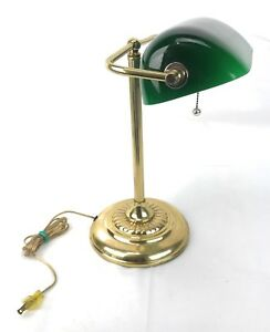 Vintage Bankers Lamp Brass Hardware Patina Green Glass Desk Study Student