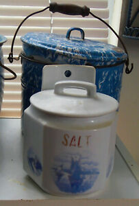 Antique Porcelain Salt Box Blue Sailboats On White Can Hang Up Or Stand Alone