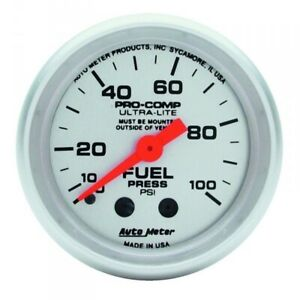 Autometer 4312 Ultra Lite Fuel Pressure Gauge 0 100 Psi