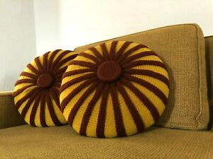 Vintage Mid Century Modern Handmade Throw Pillow Retro Mcm Round Smocked Decor