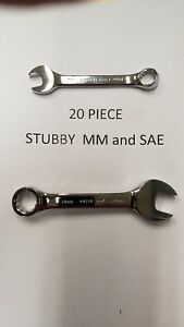 New Craftsman 20 Pc Inch metric Full Polish Stubby Wrench Set 34956