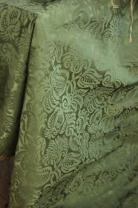 Italian Fabric 17th C Silk Damask Textile 1600 S Green Canopy Top 62x74 Large