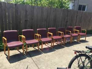 Set Of 7 Vintage Bill Stephens For Knoll Bentwood Arm Chairs Mid Century Modern