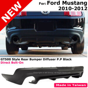 Rear Lower Diffuser For 2010 2012 Ford Mustang Gt500 Pp Black Valance Body Kit