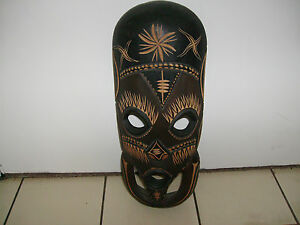 Carved Wood Tribal African Mask Wallhanging Art Decor