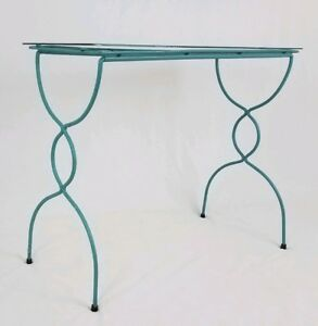 Wrought Iron Glass Top Accent Table Plant Stand Patio Teal Vintage Mid Century