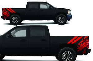Vinyl Decal Ripped Wrap Kit For Chevy Silverado Truck 1500 2500 2008 2013 Red