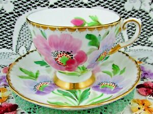 Tuscan Hand Painted Purple Pink Flowers Signed Tea Cup Saucer
