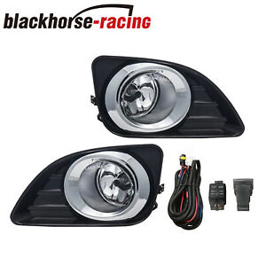 For 2010 2011 Toyota Camry Clear Bumper Lamps Driving Fog Lights Switch Pair