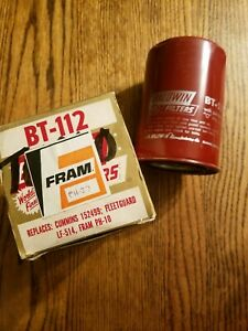 Nos Original Baldwin Fram Bt 112 Engine Oil Filter Vintage Bt112 New