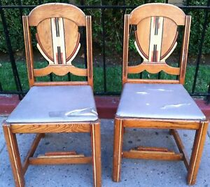 Two Art Deco Mission Saquaro Western Style Oak Chairs Stamped West Point Brown