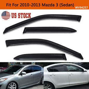 For 2010 2013 Mazda 3 Sedan Smoke Window Visors Sun Rain Wind Guards Vent Shade