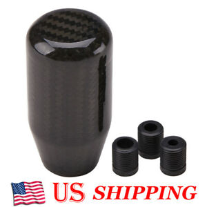 100 Real Carbon Fiber Universal Car Gear Shift Knob Shifter With Adapter Black