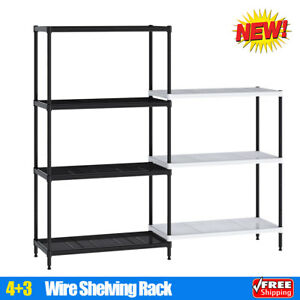 4 3 Tier Wire Shelving Rack Utility Storage Unit Garage Kitchen Organizer Shelf