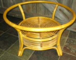 Vintage Round Bamboo Coffee Table With No Glass Top Mid Century Franco Albini