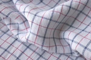 Plaid Fabric Antique French Kelsch Bed Cover 1880 Red Blue Pure Linen Textile