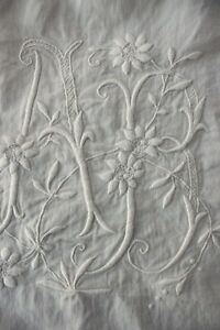 Antique French Linen Sheet Ab Monogram Finely Woven Fabric 87x124 King Size