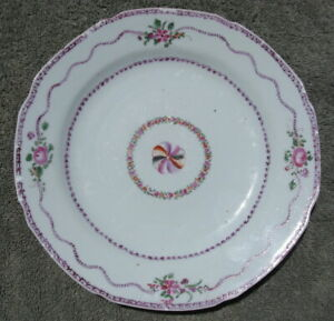 Antique Chinese Export Porcelain Plate 18thc Famile Rose 9in Qing Qianlong 1933
