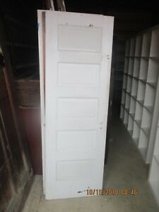 Antique Vintage 5 Panel Interior Door Approx 24 X 71 Painted White We Ship