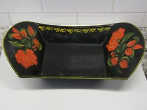 Old Tole Toleware Decorated Fruit Bowl Tray Signed On Bottom