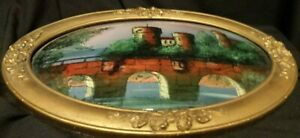 Lg Oval Antique Reverse Painted Bubble Glass Convex Wood Picture Frame 17 X 23