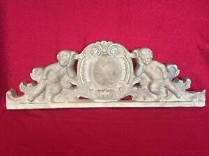 Large Antique Style Vintage Victorian Cherub Angels Pediment Corbel