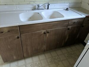 Antique Porcelain Cast Iron Double Basin Drainboard Kitchen Sink Pick Up Only