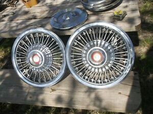 2 Oem Ford Mercury 15 Wire Spoke W Emblem Hub Cap Wheel Cover