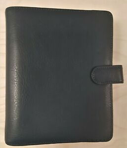 Franklin Covey Compact Giada Leather Binder 75 Rings Navy Blue